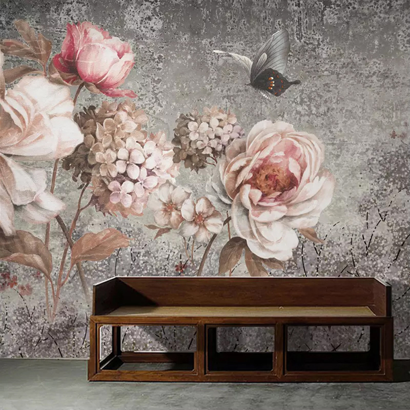Custom Mural Wallpaper European Style Vintage Oil Painting Flower Floral Fresco Living Room Bedroom Wall Decor Photo Wall Paper