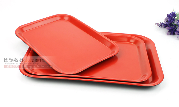 buy 16inch chinese style tray decoration fast food serving trays plastic black red hotel water tea tray melamine tableware container from - Plastic Serving Trays