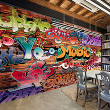 3D Embossed Brick Graffiti Art Cafe Bar