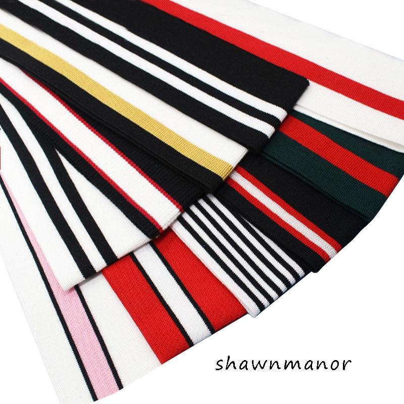2PCS Elastic Knitted Striped Breathable Rib Fabric Of Sewing Cuffs Waistband Leg Rib Collar Sleeve