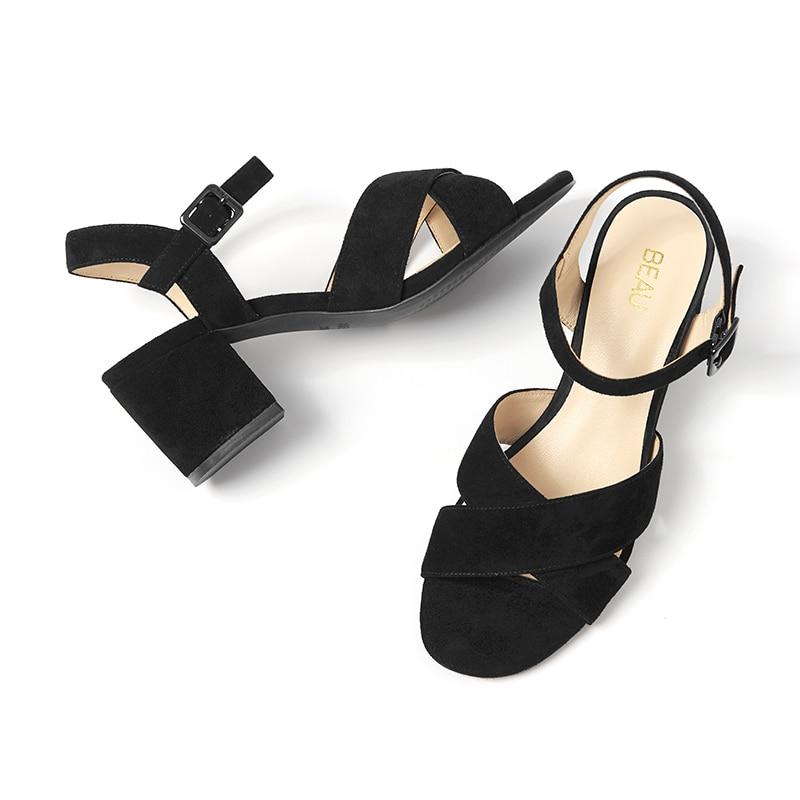 Boucle Hauts Black Bracelet Dames À Marque 31025 Enfant Cuir Main Femmes Talons Véritable Top La Daim Beautoday Sandales En D'été Chaussures UVzGSLqMp