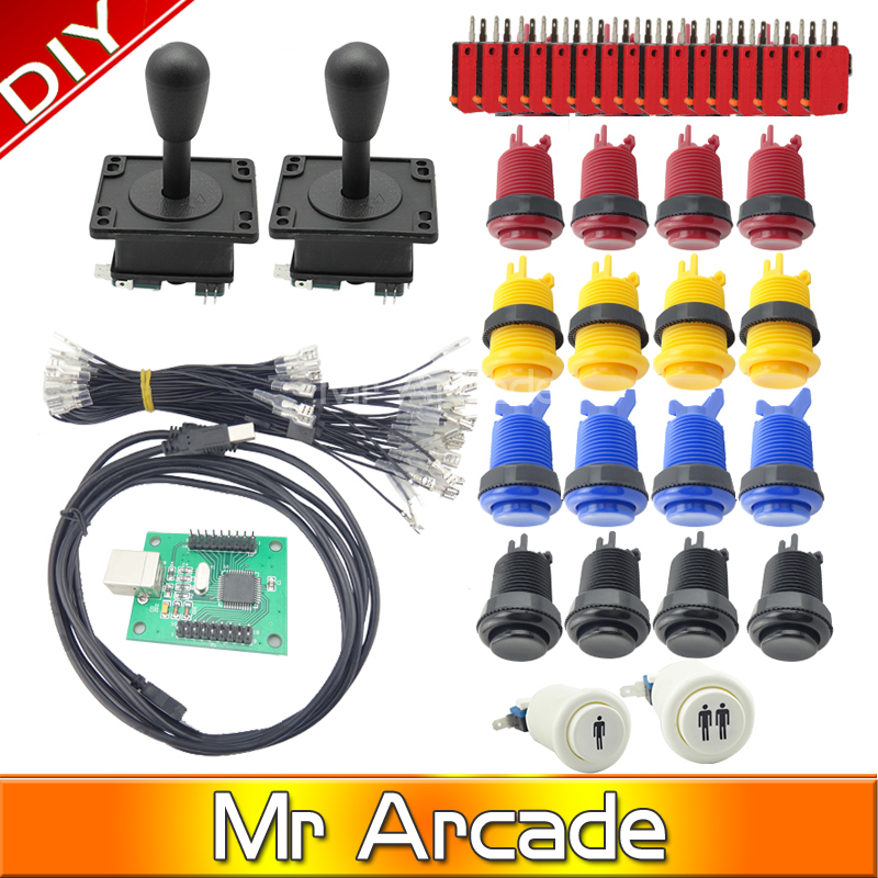 Arcade parts Bundles kit With American Joystick microswitch button 2 players USB to jamma/PC board to DIY Arcade Machine arcade jamma mame diy parts kit 2 american style joysticks