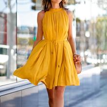 Women Girls Summer New Yellow Cotton blend Casual Sleeveless Solid Color High waist Lace-up Pleated Dress With Pockets casual style high waist solid color cotton blend skirt for women