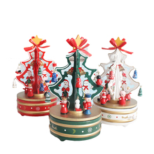 DIY Wooden Merry Christmas Advent Tree Music Box Ornament Christmas Music Box Home Furniture Decoration Toy Best Christmas Gift