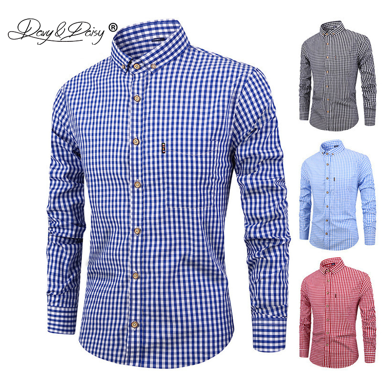DAVYDAISY 2019 New Arrival Spring High Quality Men Shirt 100% Cotton Shirt Long Sleeved Fashion Causal Slim Fit Male Shrit DS282-in Dress Shirts from Men's Clothing