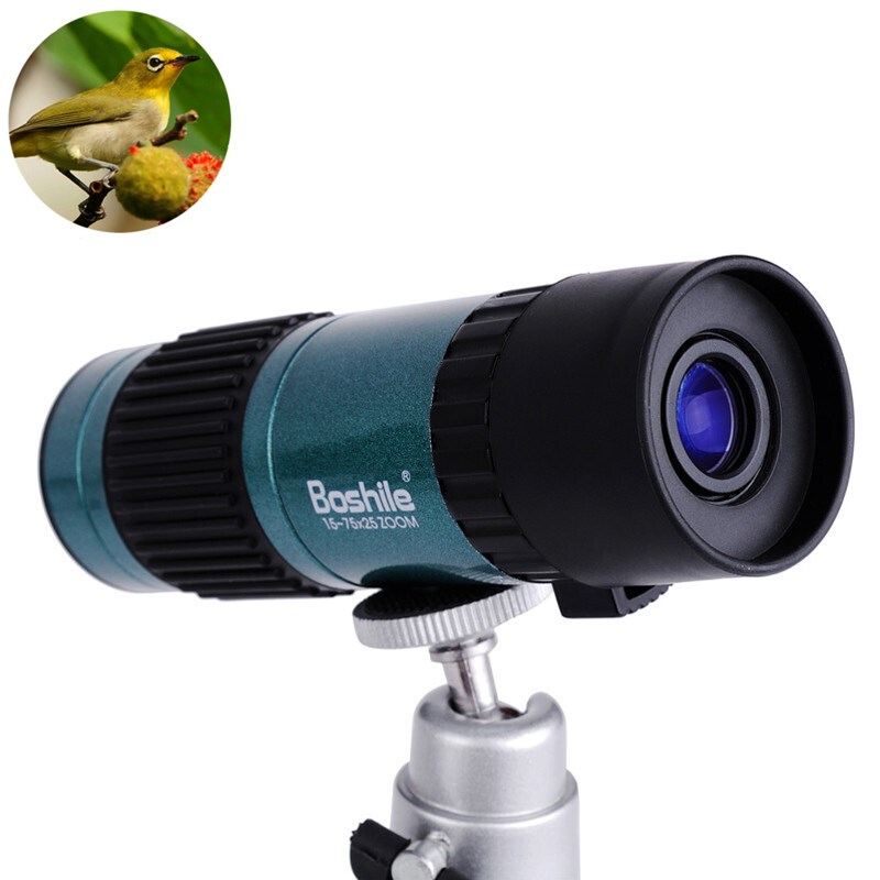 Mini Handheld 15-75X25 Zoom Monocular Telescope HD High Power Binoculars with Tripod BAK4 Prism Spyglass Hunting Spotting Scope 10x25mm mini folding binoculars telescope 101m fieldof view with tripod adaptor free shipping