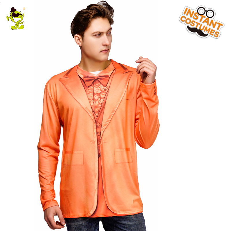 New Arrival Men's Tuxedo T-Shirt Costume Party New Design Orange Color Long Sleeve Tees 3 D Printed Slim Fitness Male T-shirts