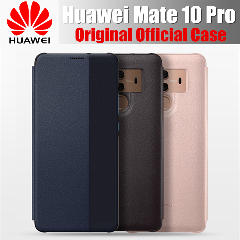 100% official case for huawei mate 10 pro original flip cover shell Window View Synthetic for huawei mate 10 pro cover case