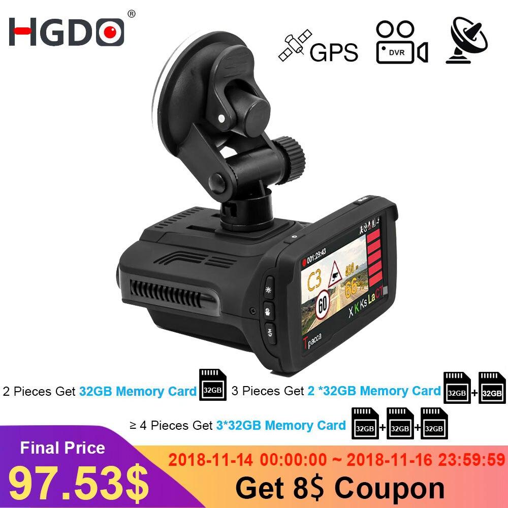 HGDO Ambarella A7 Auto DVR Del Rivelatore Del Radar GPS 3 in 1 HD 1296 p 170 Gradi Angolo di Dash Cam Russo lingua Video Recorder