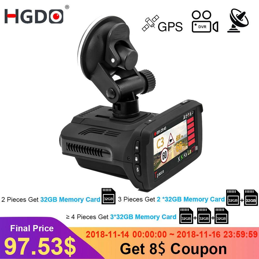 HGDO Ambarella A7 Voiture DVR Détecteur de Radar GPS 3 dans 1 HD 1296 p 170 Degrés Angle Dash Cam Russe langue Vidéo Enregistreur