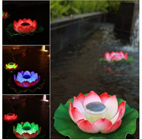 4pcs Upgraded Pond Colorful Color Solar Lotus Floating Lights Outdoor Waterproof Night Light For Garden Decoration