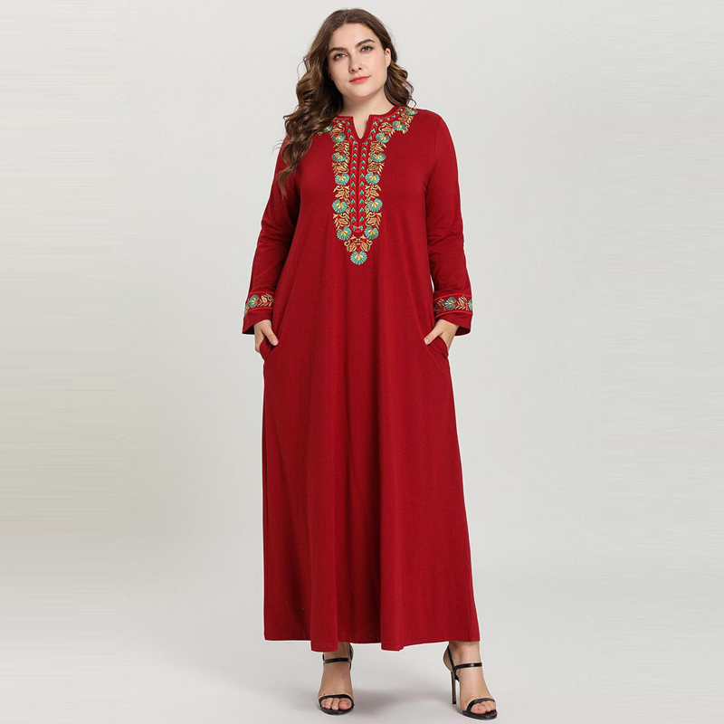 2019 Arabic Dress Elegant Solid Color Long Sleeve Embroidery Maxi Long Dress Robe Musulmane Longue Red Pink Big Size M - 4XL