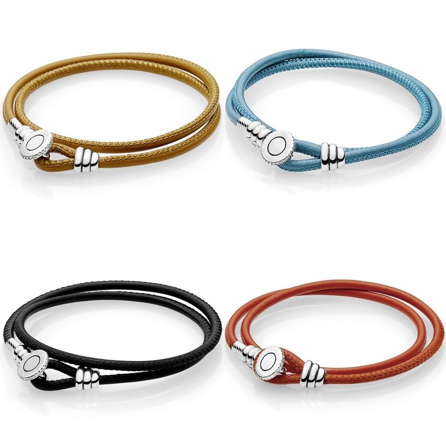 Authentic 925 sterling silver 4 colors Black Double Leather Bracelet Clear CZ Fit Original Pan Charm Bracelet DIY Jewelry