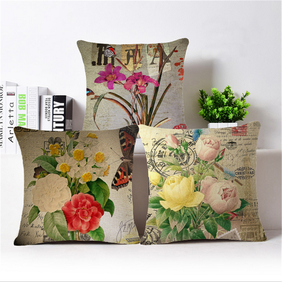 Pouf Vintage Us 6 15 29 Off 45x45cm Flower Plant Floral Decorative Pillows Case Linen Vintage Home Decor Decorative Cushion Cover Pillowcase Pouf B119 In Cushion