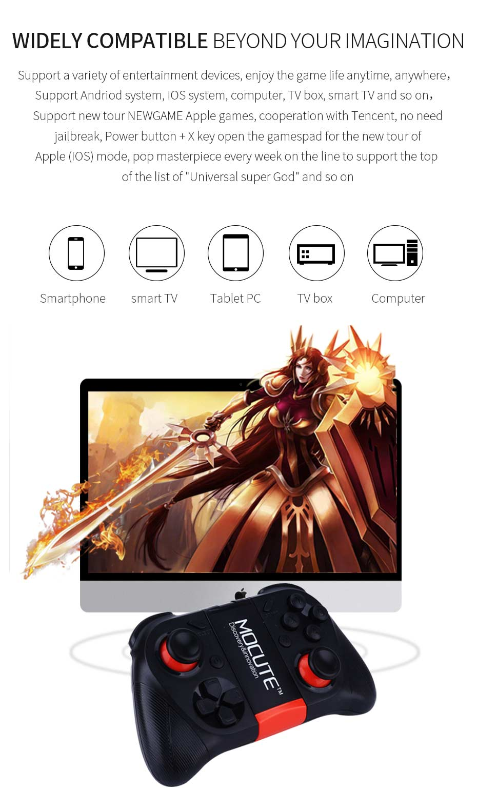 US $12 75 31% OFF|MOCUTE 050 054 VR Game Pad Android Joystick Bluetooth  Controller Selfie Remote Control Gamepad for PC Android Phone TV +  Holder-in