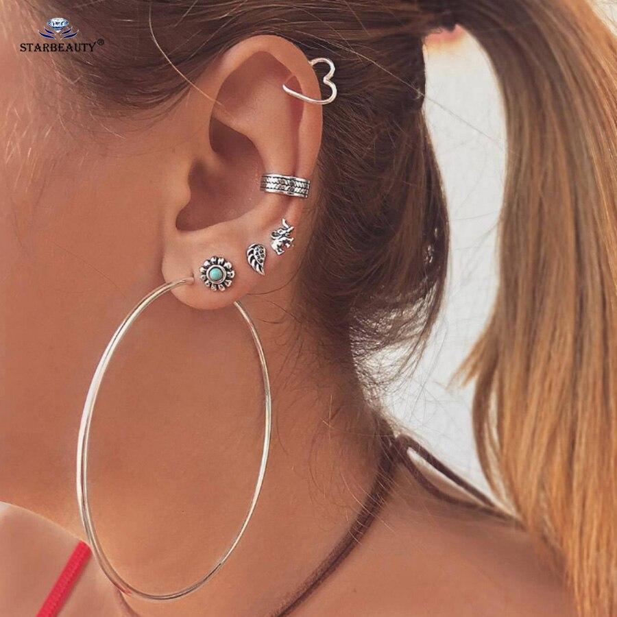 7 Pcs Lot Big Hoop Heart Ear Piercing Feather Tragus Earrings Set Helix Piercing Fake Earrings Fake Piercing Ear