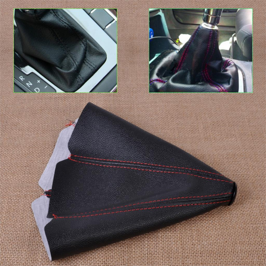 Universal Car Manual Auto Shifter Shift Knob Boot Cover Black & Red Stitch PVC Leather For VW Audi Mercedes Benz Toyota BMW