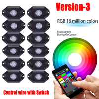 12 Pods RGB Led Rock Lights Multicolor with Bluetooth App Control Wiring Kit Music Strobe DRL Fog Light for Offroad Boat Trucks