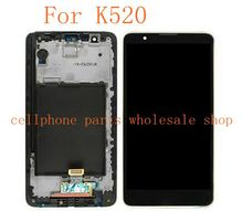 Para lg stylus 2 k520 ls775 pantalla lcd con pantalla táctil de cristal digitalizador asamblea frame negro color