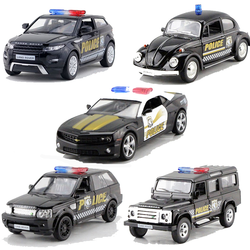 купить RMZ Alloy Pull Back Police Car Toy Vehicles Simulation Police Cars Model Toys For Children Gifts по цене 587.11 рублей