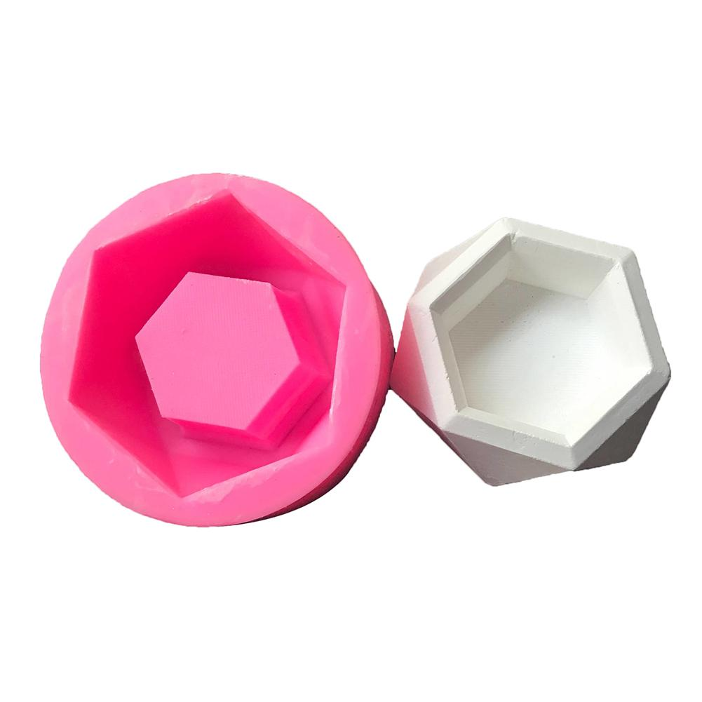 Diamond Hexagon Succulent Plant Container Mold DIY Flower Pot Silicone Cement Fleshy Flower Bonsai Handmade Mould Clay Craft