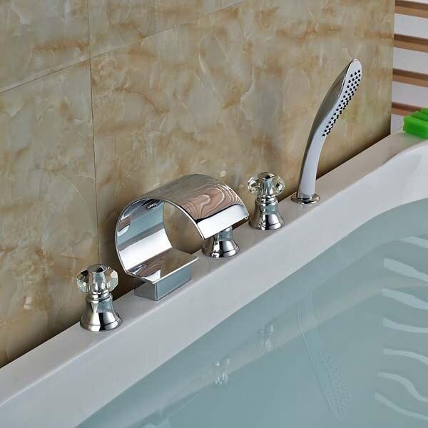 NEW Crystal Handles Widespread Bathroom Tub Faucet W/ Hand Shower Sprayer Mixer Tap