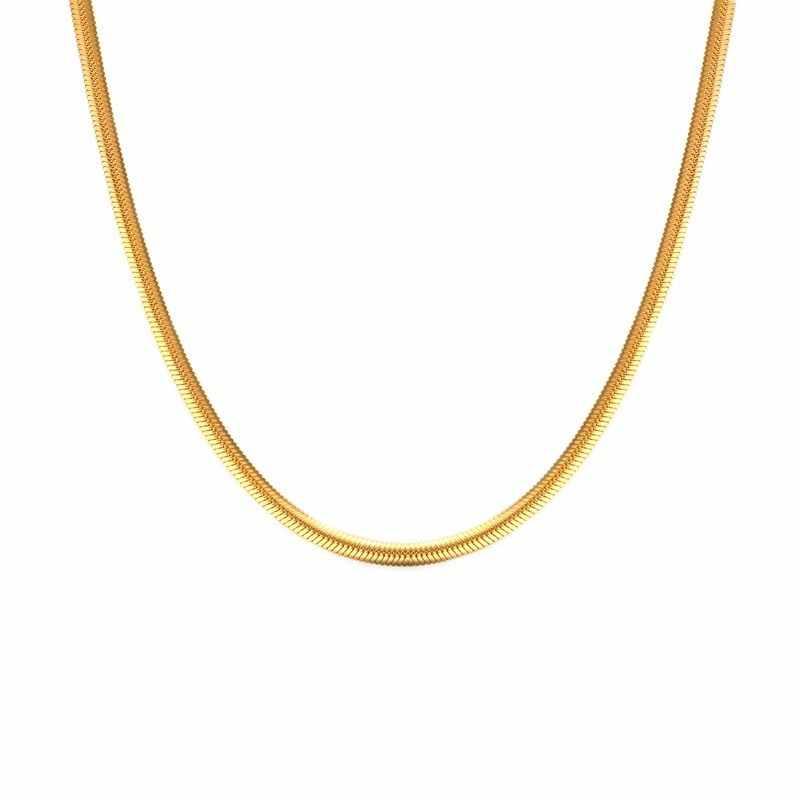 3MM klasyczny ze stali nierdzewnej płaski wąż choker łańcuszek naszyjnik dla mężczyzn biżuteria w kolorze złotym srebrnym 24 Cal