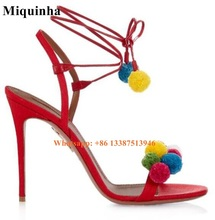 New Fashion Women High Quality Pompon Design High Heel Sandals Open Toe Lace-up Sandals Formal Dress Shoes Free Shipping