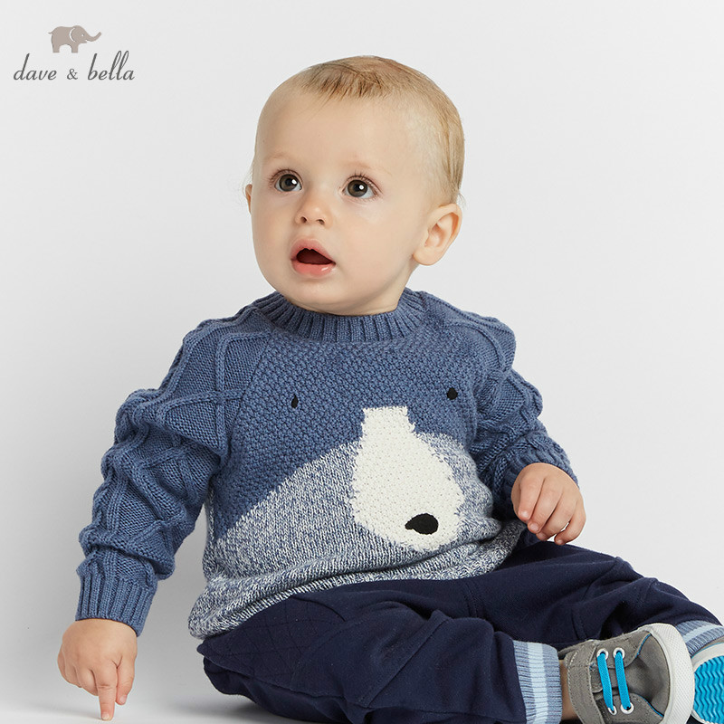 все цены на DBW8217 dave bella autumn knitted sweater infant baby boys long sleeve pullover kids toddler tops children knitted sweater