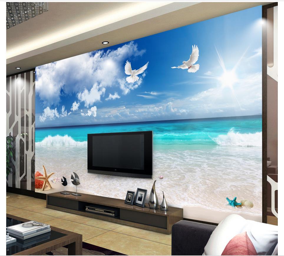 Good Buy Custom murals wallpaper Mediterranean mural Blue sky white ...