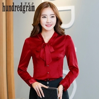 Women Tie Front Red Blouses With Bow Fashion Long Sleeve Satin Tops Korean Style Female Office
