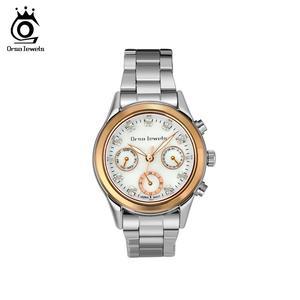 Image 1 - ORSA MÜCEVHER 316L Paslanmaz Çelik Kadın Izle Moda Bayan kuvars bilek saatleri Gümüş Renk Bilezik Su Geçirmez Izle OOW11