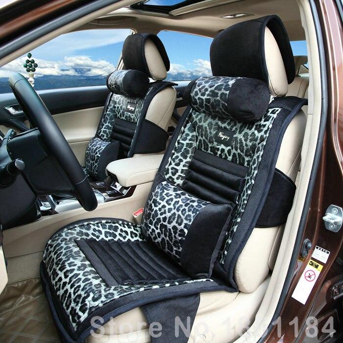 calssic snow leopard print general car seat cushion pu leather velvet fabric 10pcs set gray in. Black Bedroom Furniture Sets. Home Design Ideas