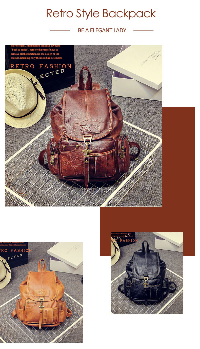 HTB1eOiSbjnuK1RkSmFPq6AuzFXaa Vintage Women Backpack for Teenage Girls School Bags Large Drawstring Backpacks High Quality PU Leather Black Brown Bag XA658H