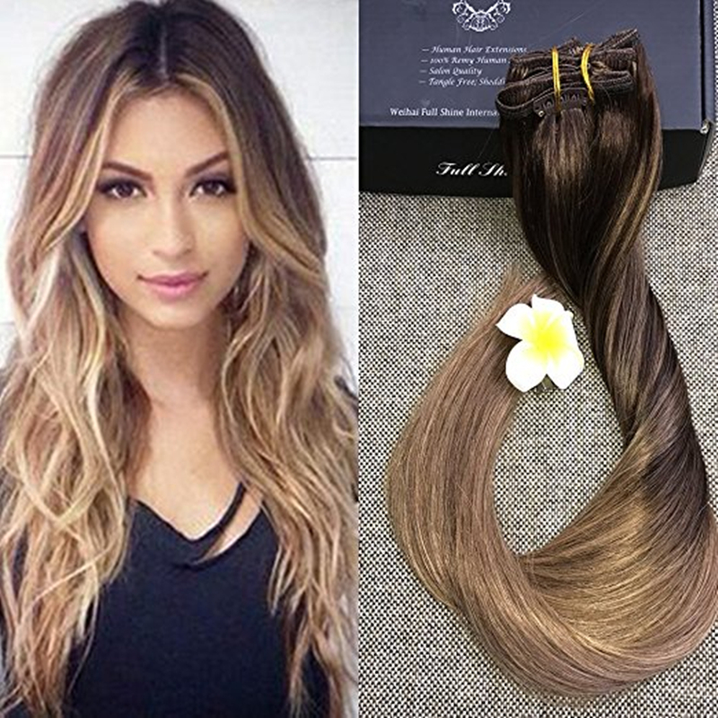 Full Shine Biscuit Balayage Blonde Highlighted Extensions 8A Grade Virgin Unprocessed Human Hair Ombre Clip in Hair Extensions