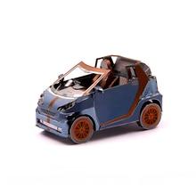 лучшая цена Metal assembly Smart car Model Q004 DIY 3D laser cutting Jigsaw puzzle model Nano Puzzle Toys Desktop decoration GIFT For Adults