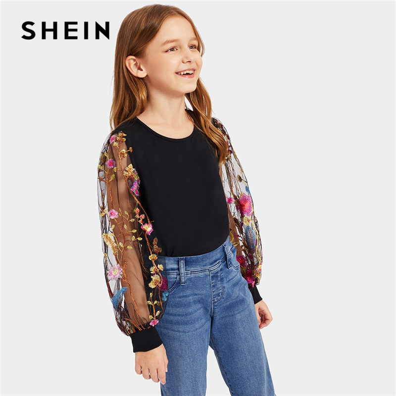 SHEIN Kiddie Girls Black Flower Embroidered Casual T-Shirt Kids Clothes 2019 Spring Korean Long Mesh Sleeve Tops Children Tees