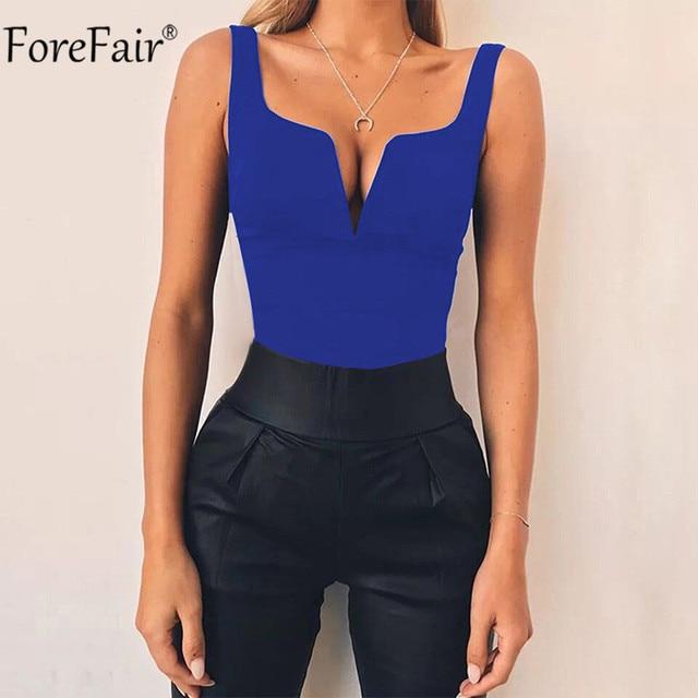 Forefair V Neck Sleeveless Sexy Bodysuit Women Summer Romper White Black Backless Bodysuit Body Top 4