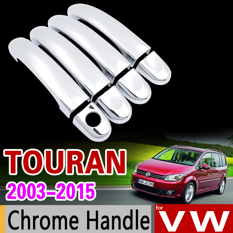 for VW Touran 2003 - 2015 Chrome Handle Cover Trim Set for Volkswagen 2005 2007 2009 2011 2013 Accessories Stickers Car Styling car auto accessories rear trunk trim tail door trim for subaru xv 2009 2010 2011 2012 2013 2014 abs chrome 1pc per set