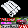 for VW Touran 2003 - 2015 Chrome Handle Cover Trim Set for Volkswagen 2005 2007 2009 2011 2013 Accessories Stickers Car Styling