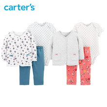 Carter s 3Pcs Little Jacket Set Autumn winter long sleeve cardigan bodysuit pants baby girl clothes