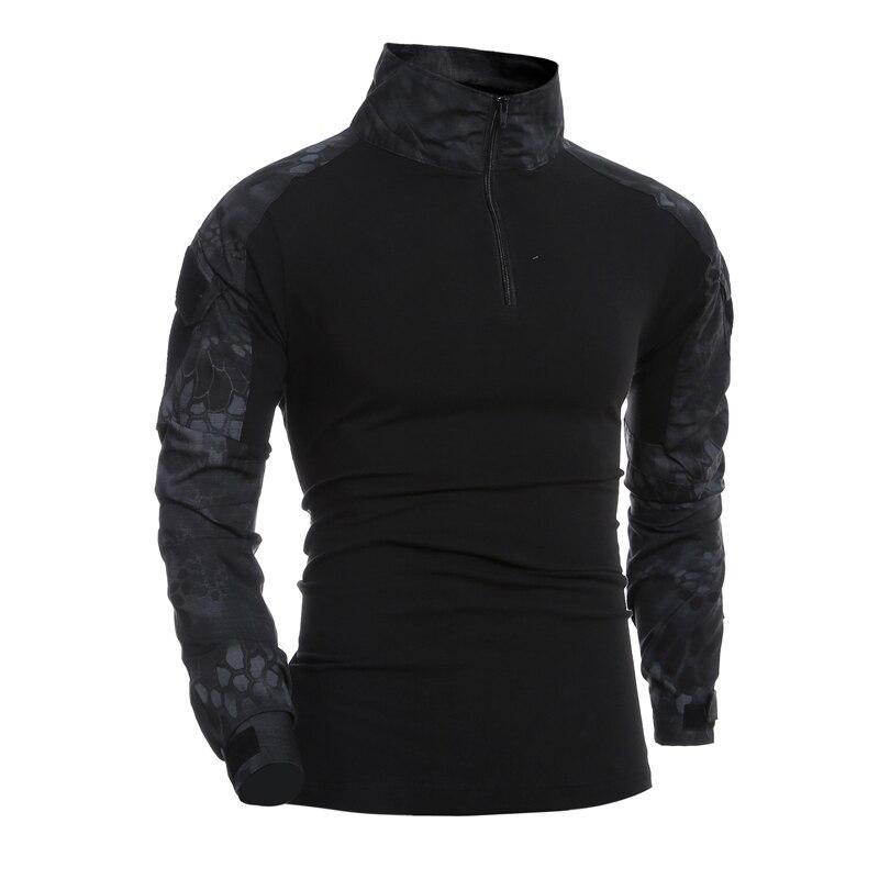 036d7871276d5 Camisa de combate Dos Homens Camisetas de Manga Longa Estilo Militar Tático  Do Exército DOS EUA Camuflagem Multicam Airsoft SWAT Especial camisetas  para o ...