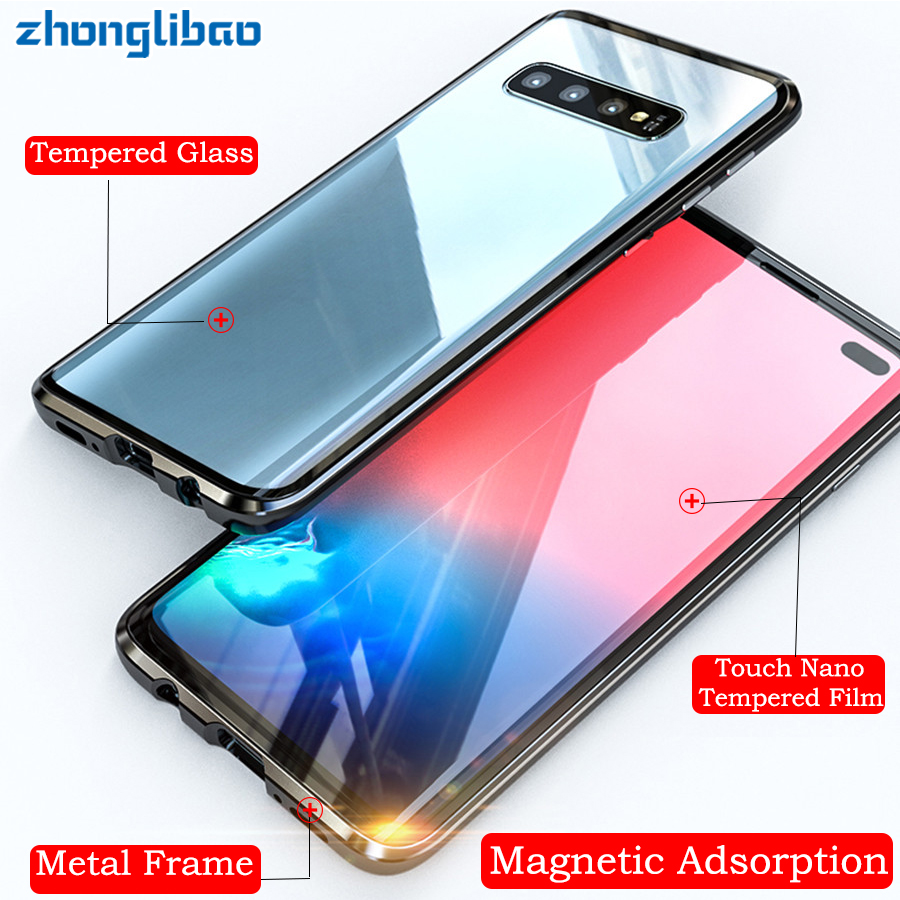 360 Caixa De Vidro de Metal magnético para Samsung S10 5G S9 S8 Plus Nota 9 8 A7 A9 2018 A50 a60 A70 A30 A80 2019 Tampa de Proteção Integral