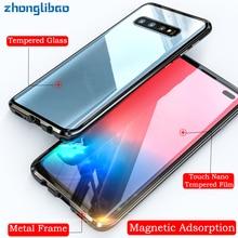 Magnetyczne metalowe 360 szkło etui do Samsung S10 5G S9 S8 Plus uwaga 9 8 A7 A9 2018 A50 A60 A70 A30 A80 2019 pełne etui ochronne