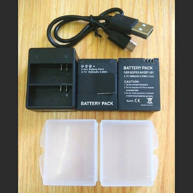Gopro Hero 3 + Pil 3.7 V AHDBT 301 pil şarj cihazı USB çifte şarj makinesi Pil kutusu GOPRO3 AHDBT302 Eylem kamera aksesuarları