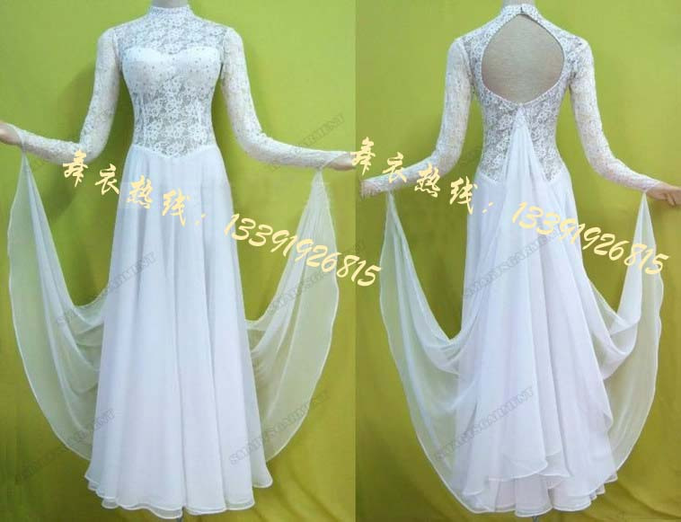 The new modern dance ballroom dance dress uniforms wear white lace halter for women the ballroom