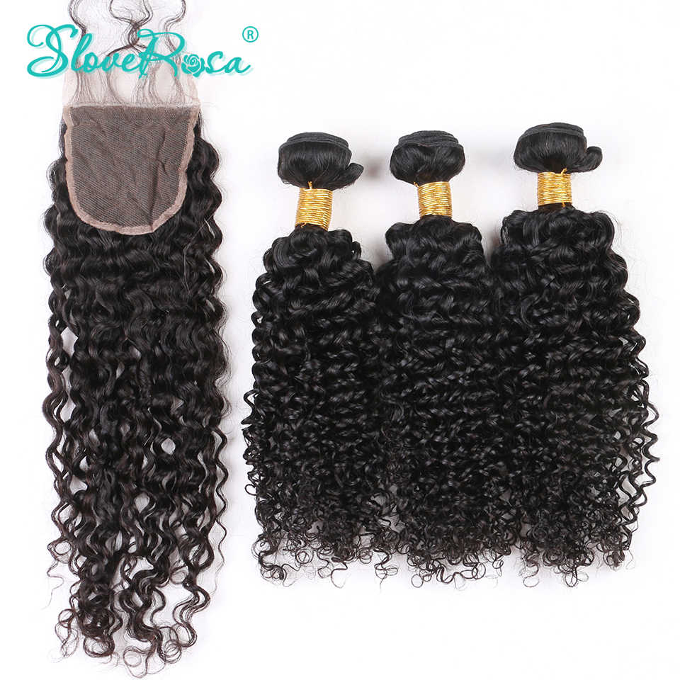 Deep Curly Remy Human Hair Bundles With Closure 4*4 Brazilian Hair Weave Bundle Lace Closure Free Part Bleached Knots Slove Rosa