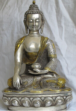 Statue de bouddha nyorai Sakyamuni en bronze plaqué argent tibétain 0 13.5