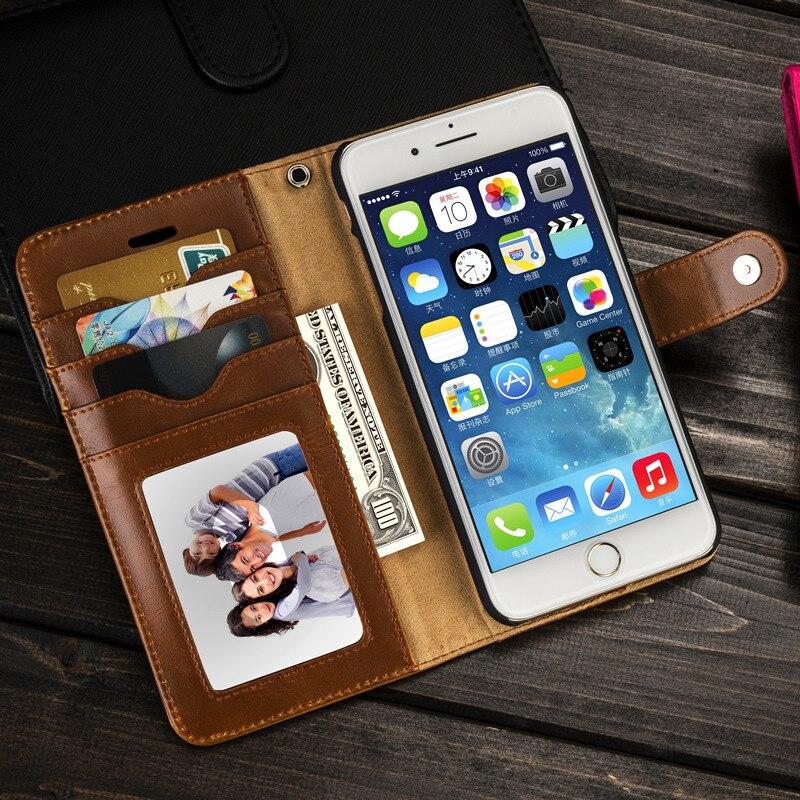 imágenes para Musubo Caso de Cuero de Lujo Para el iphone 7 Plus Desmontable Volver fundas para el iphone 6 más 6 s 5 5S SE funda en forma magnética soporte para coche