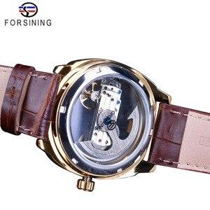 Image 4 - Forsining Double face Transparent doré lunette marron cuir ceinture hommes montre automatique Top marque luxe mécanique squelette horloge